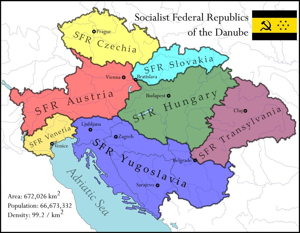 Socialist Federal Republics Of The Danube Alternate History Imaginary Maps Historical Maps