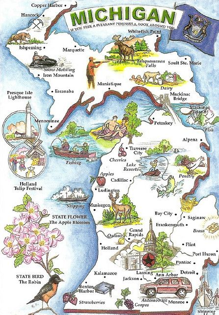 Michigan Map And State Symbols Artwalk Kids Pinterest Map Of