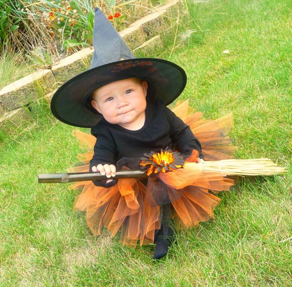 tutu witch costume orange and black infant by ribbonblossoms 3400 - Baby Witch Costumes Halloween