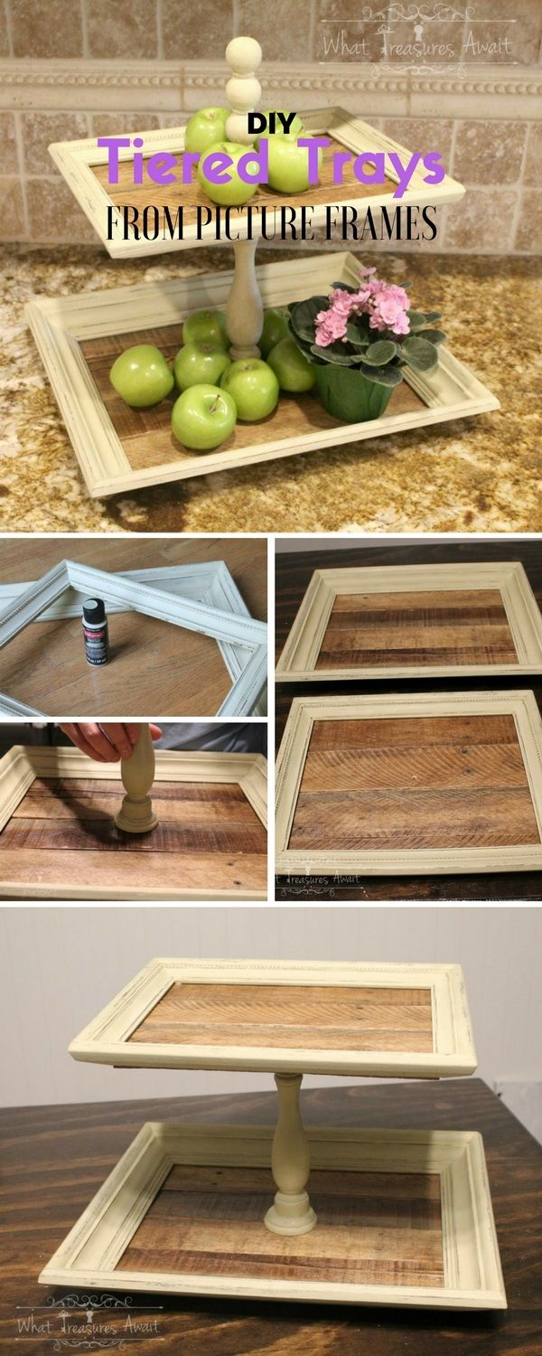 Tiered Trays from Thrift Store Frames | Chalky paint, Wood glue and ...