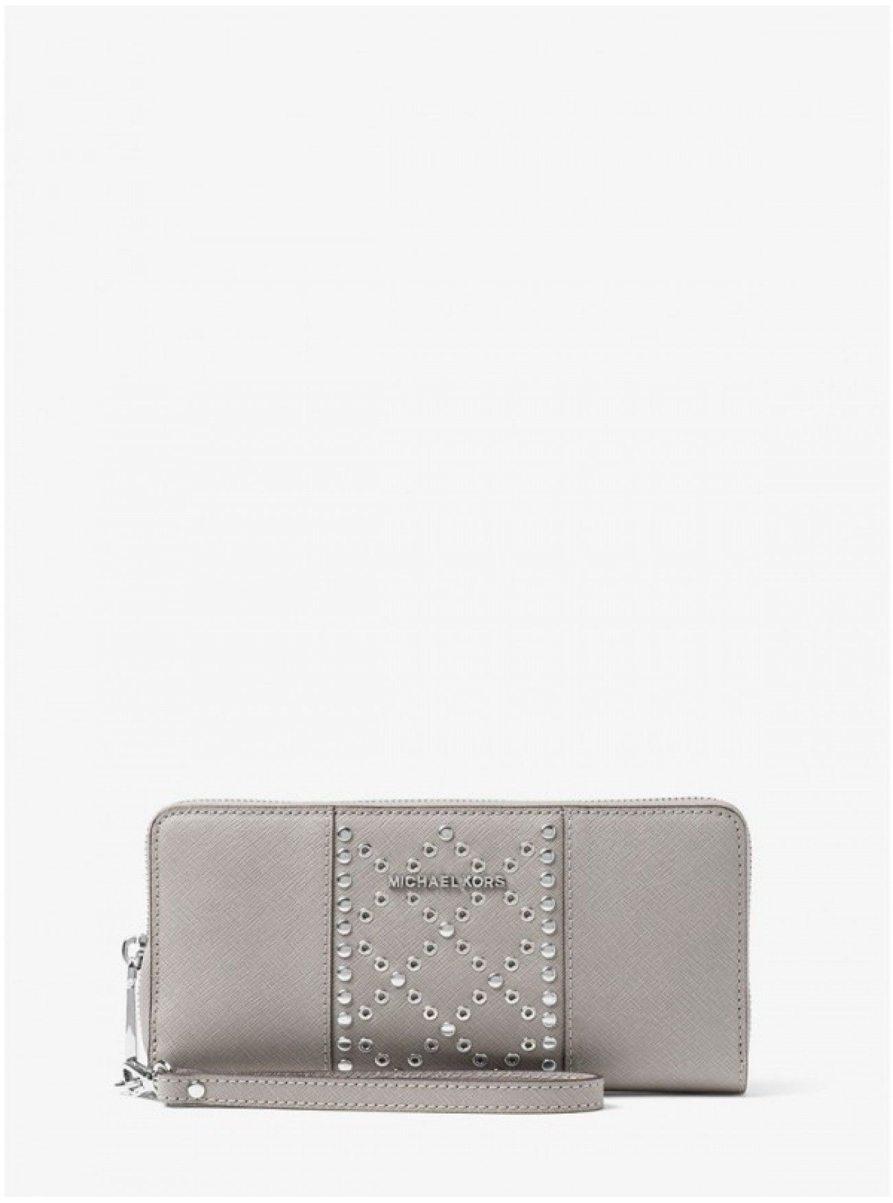 f35fe90de926 Cheap MICHAEL Michael Kors Jet Set Travel Grommeted Leather Continental  Wristlet Grey Buy