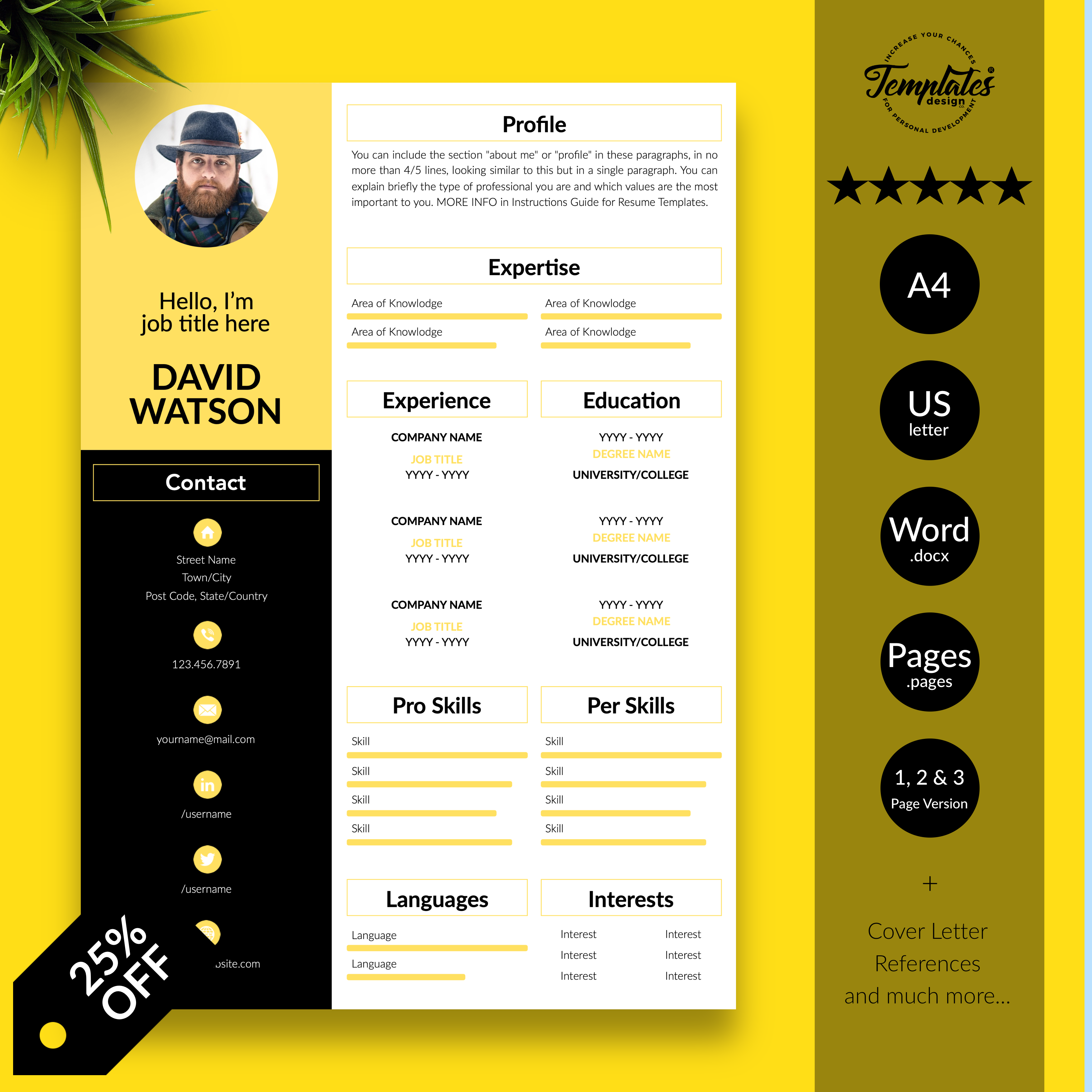 CV Template / Professional Resume Template with Photo