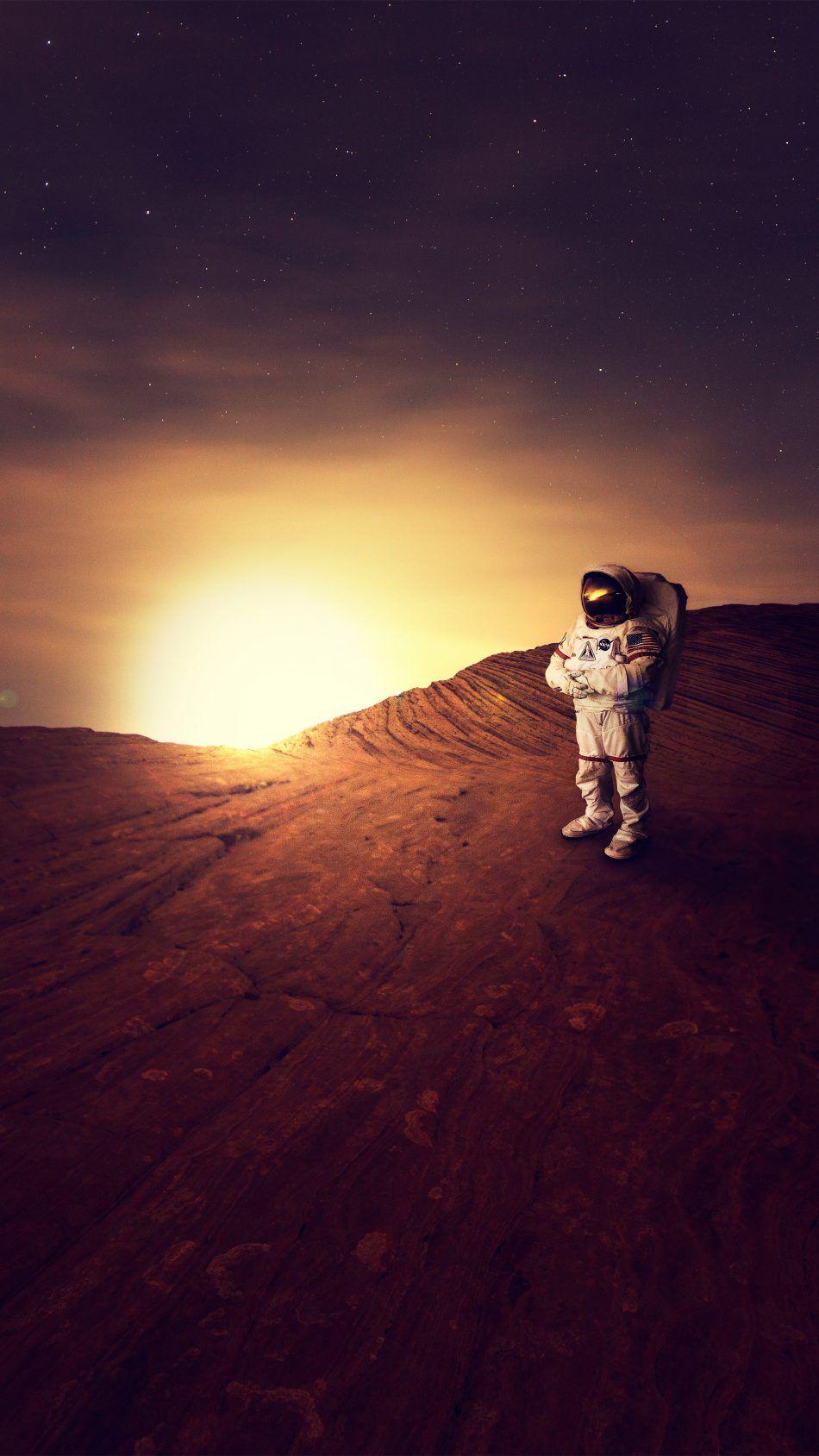 Astronaut On Planet Mars Sunset 4k Ultra Hd Mobile Wallpaper Astronaut Wallpaper Iphone Wallpaper Moon Wallpaper Iphone Neon