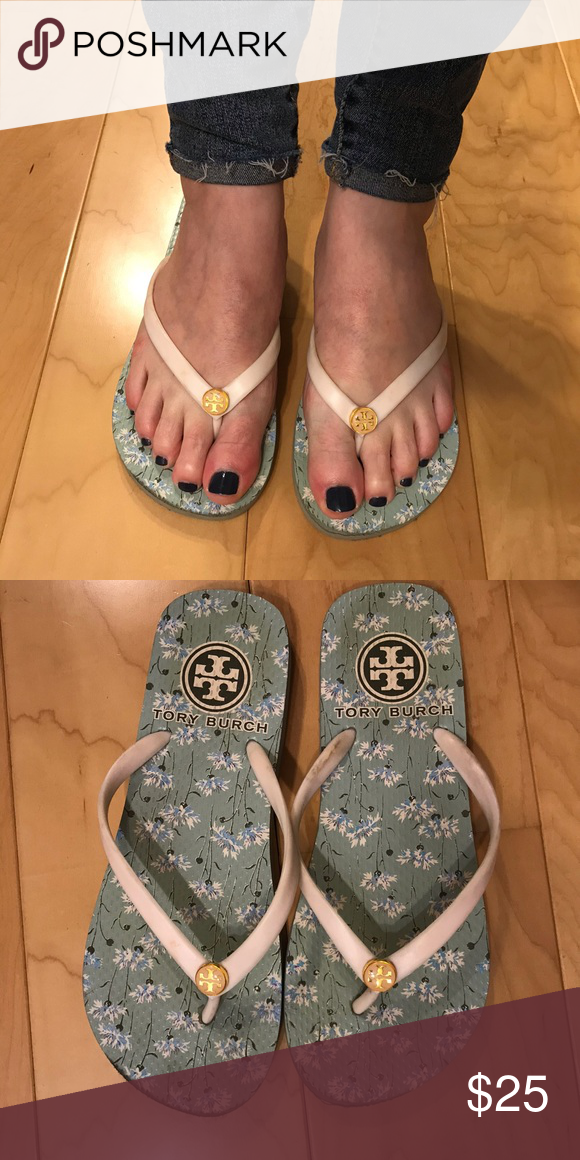 c74846681 Authentic Tory Burch Sandals  please ignore my swollen pregnant feet   selling these authentic Tory Burch flip flops. Size 6.