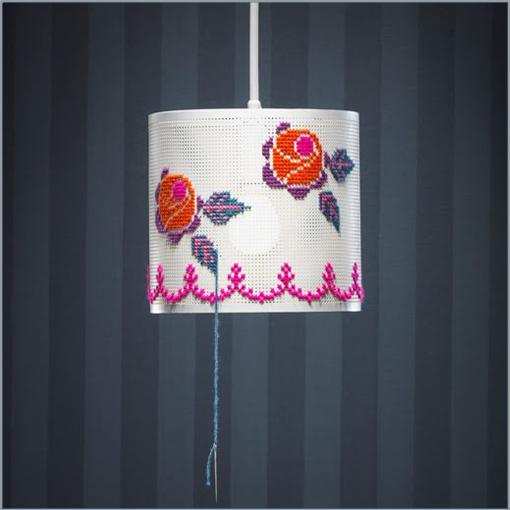 Cross-stitch lamp shade! | I wanna make that | Pinterest | Lamp ...