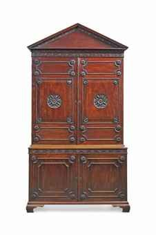 A GEORGE II MAHOGANY CABINET MID-18TH CENTURY  29 in. (239 cm.) high; 51 in. (130 cm.) wide; 21 in. (53.5 cm.) deep Provenance:  The Chapter House, St. Paul's Cathedral.