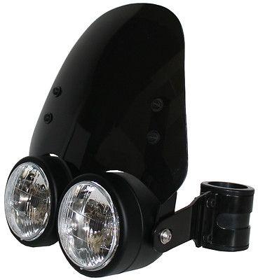 Black Dual 4 5in Headlight w 33 37mm Brackets Dark Smoked Shield Motorcycle | eBay