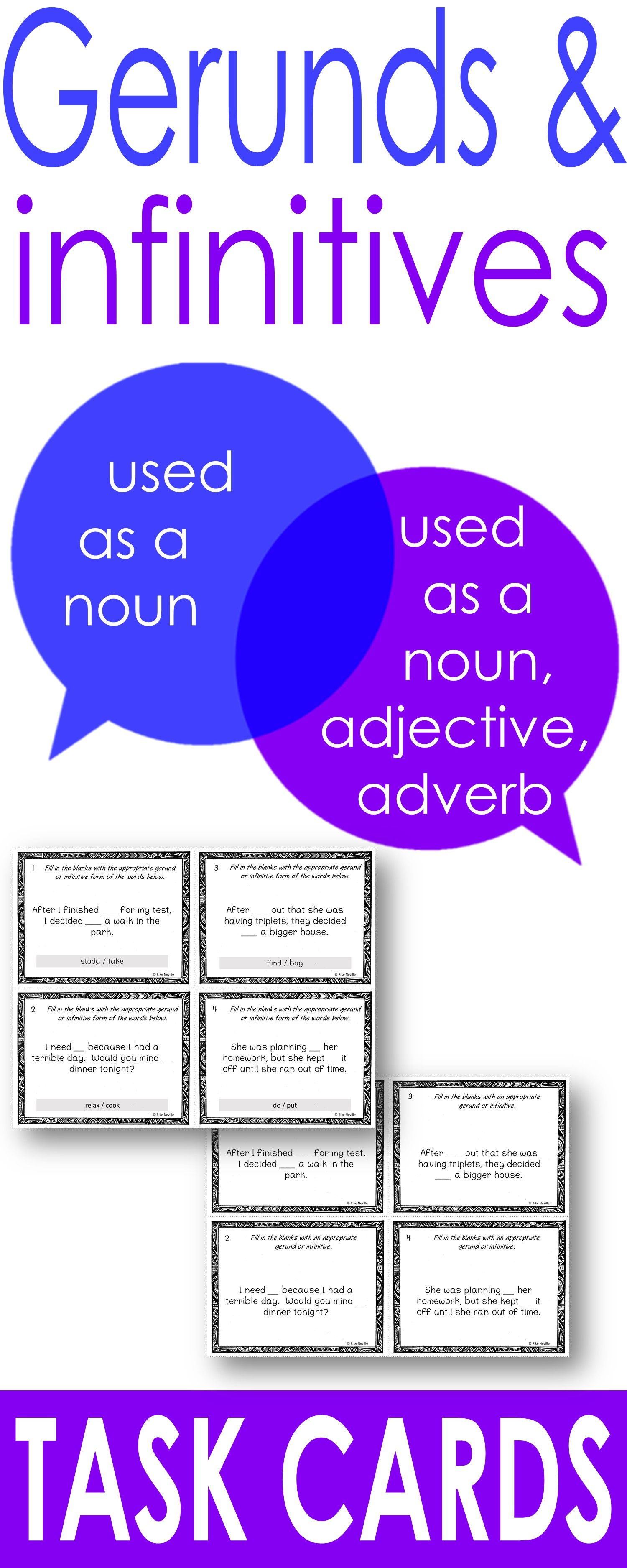 Gerunds And Infinitives Task Cards With Images