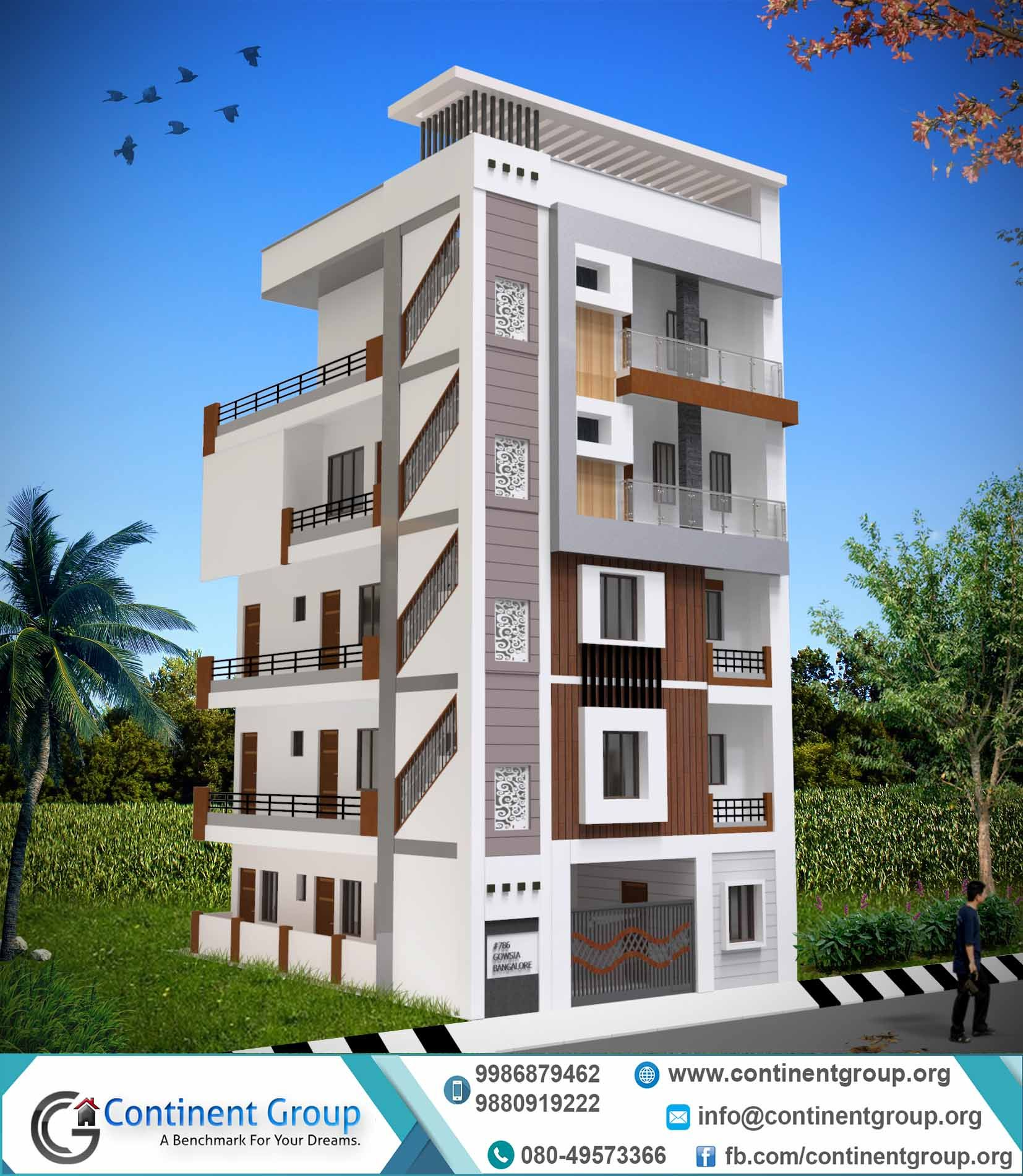 G House 3d Building Elevation Ground Plus 4 G 4 Sss In 2019 Building