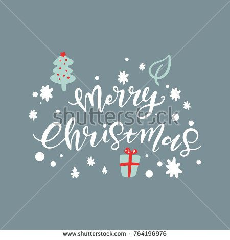 Vector Merry Christmas Hand Lettering, Holiday Cards with Hand Drawn