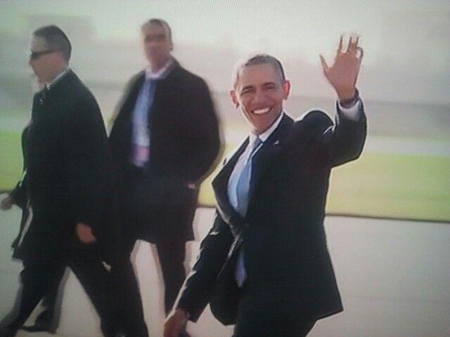 Daar is hij dan. President Obama in Nederland. Rond 9:05 uur aangekomen, 24-03-2014.