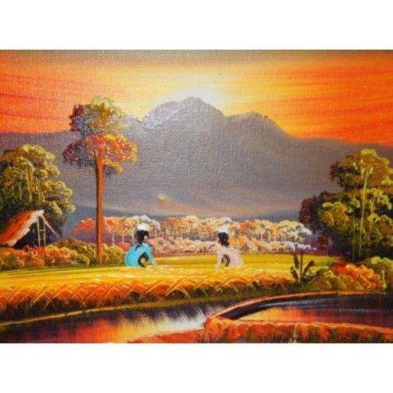Lukisan Abstrak Motif Pemandangan Sawah Senja Panajang 25 Cm Lebar
