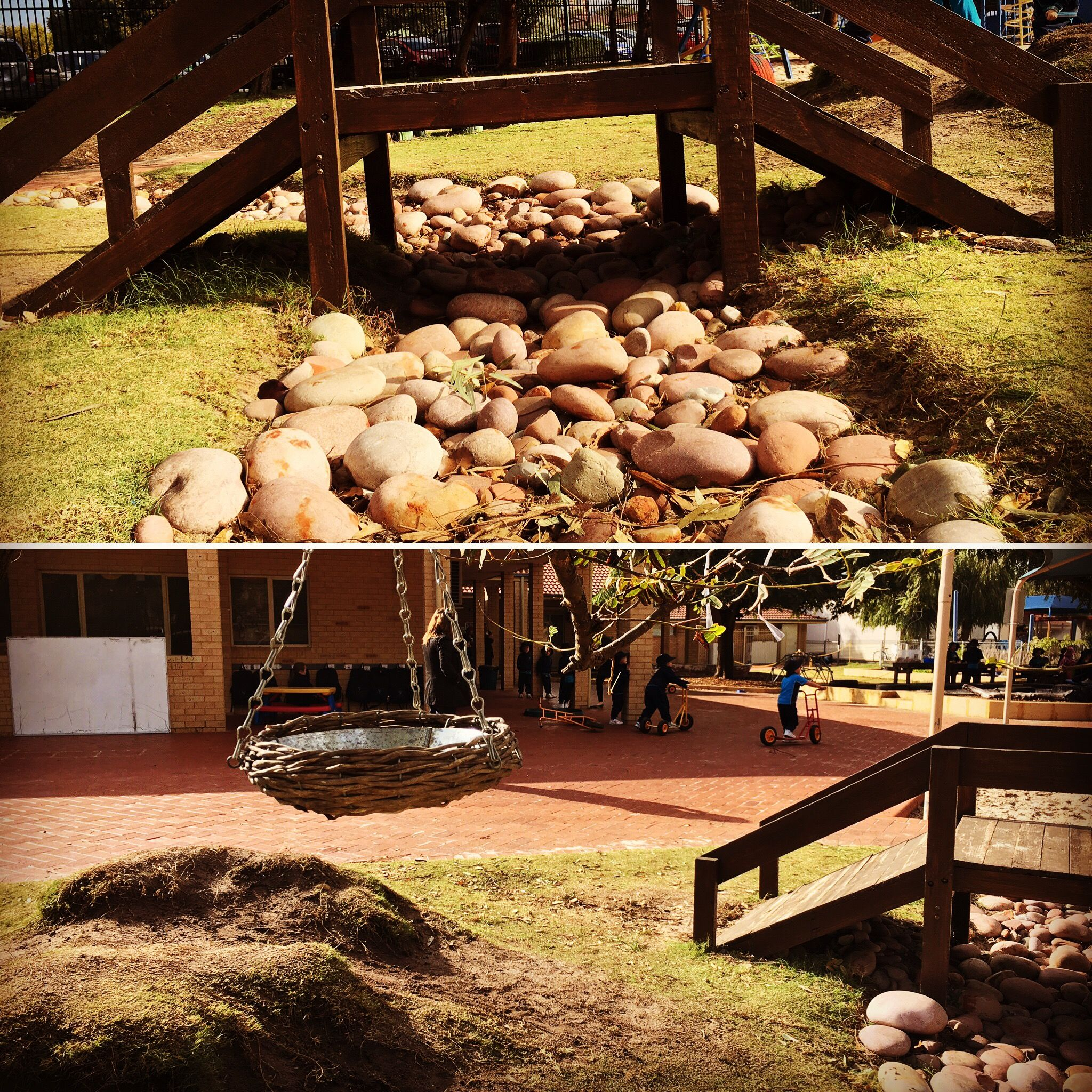 Dry river bed with bridge made from pallets | Dry river ...