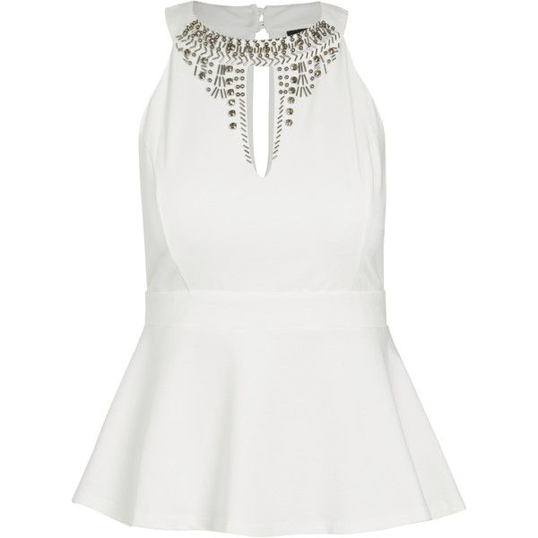 City Chic Beaded Feather Peplum Top 35 Liked On Polyvore Featuring Tops Wet Look Top Tie Halter Top A White Halter Top White Peplum Tops Classy Outfits