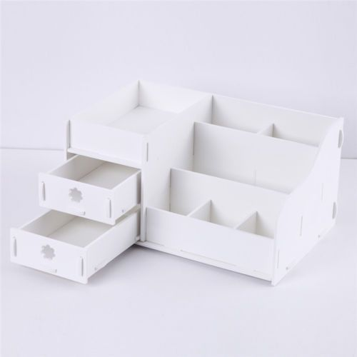 Wood Wooden Desk Organiser Makeup Storage Display Box With 2 Drawer White Uk View More On The Diy Makeup Storage Box Makeup Storage Box Diy Makeup Storage