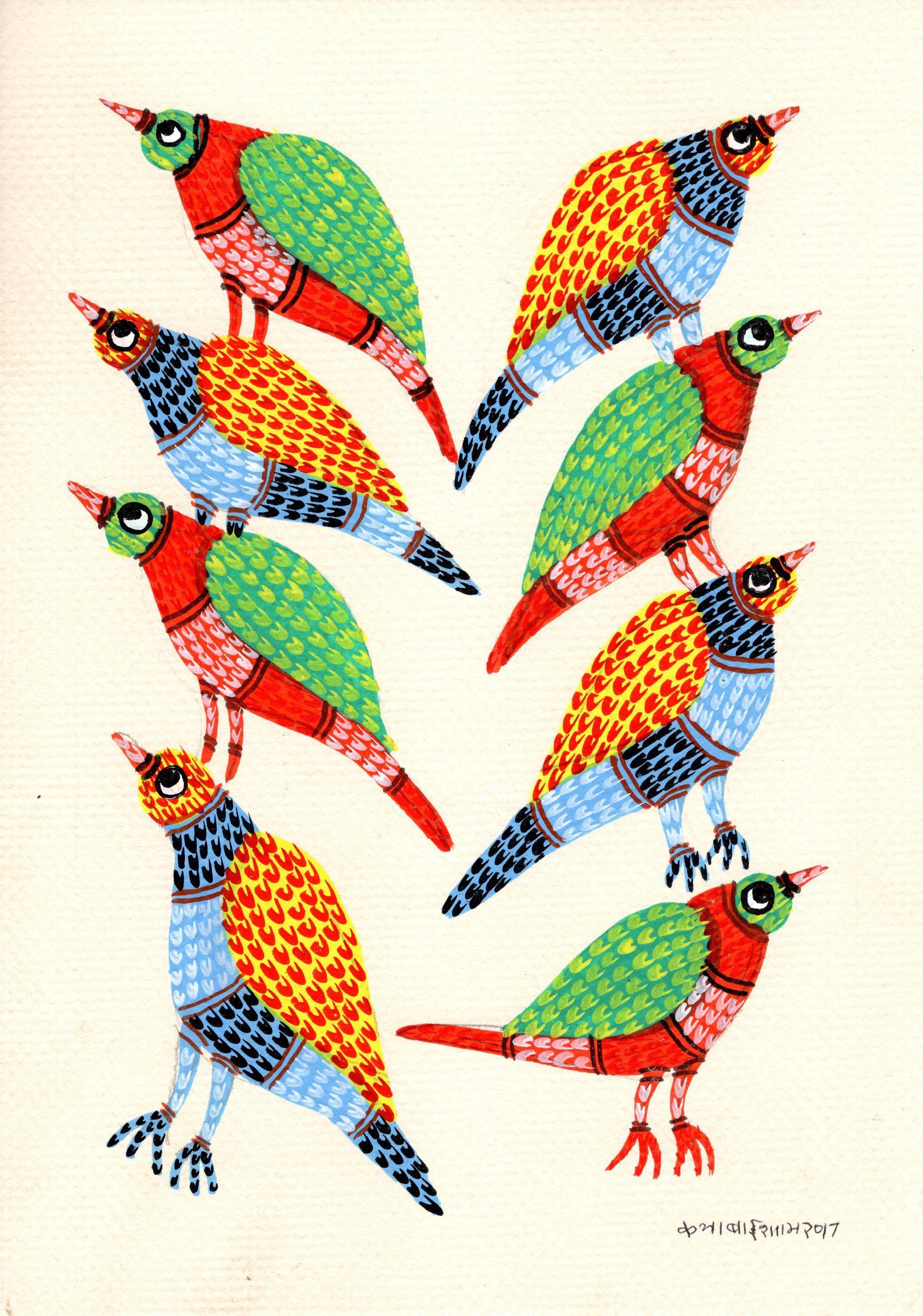 Gond Indian Painting Handmade Madhya Pradesh Tribal Folk