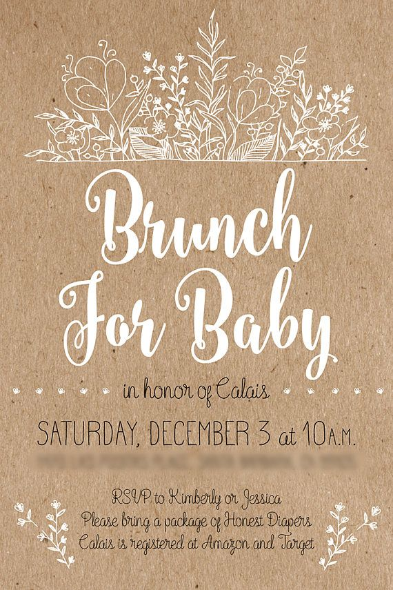 Rustic Baby Shower Invitation Customizable Printable ---- brunch for ...