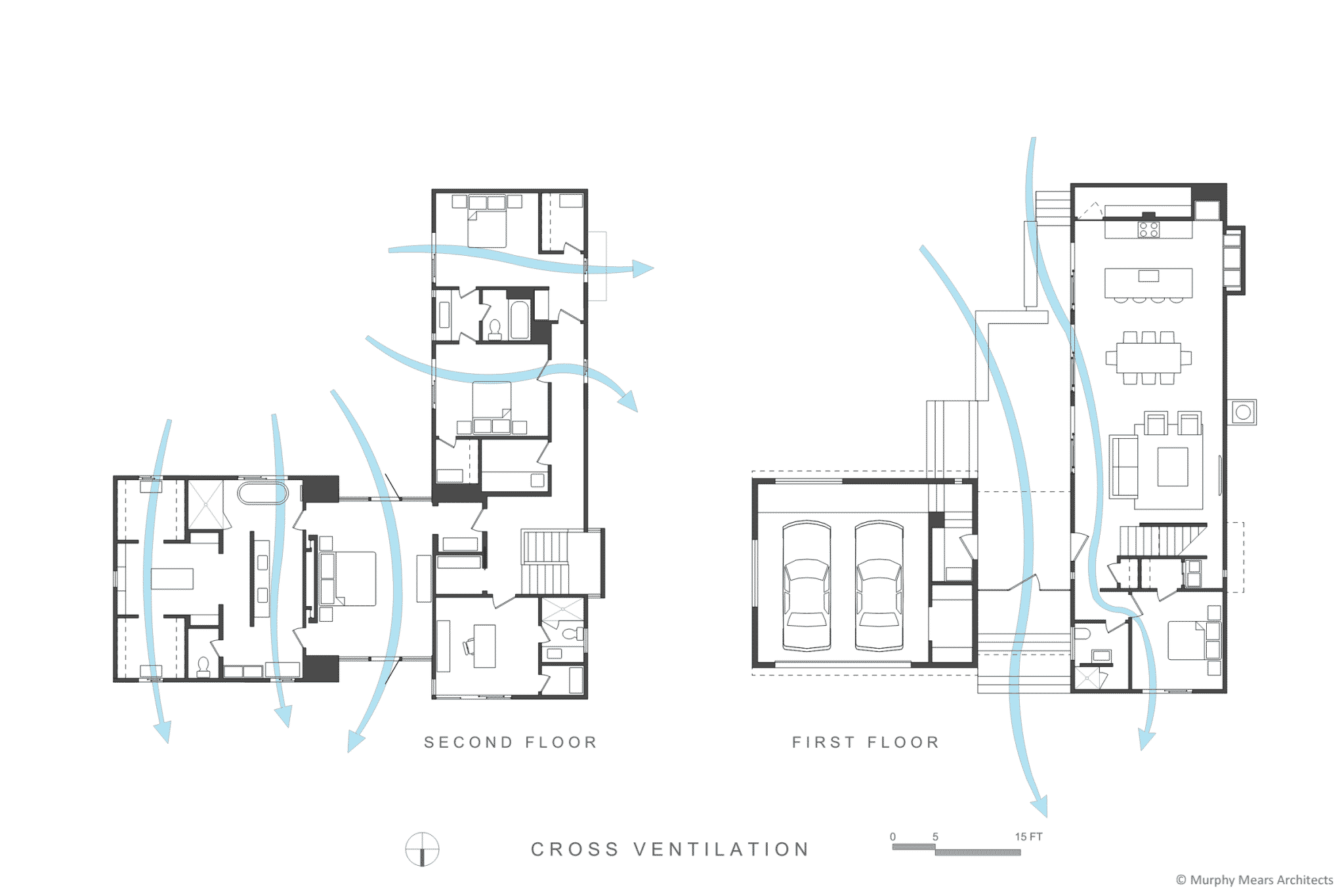 cross ventilation through first and second floor areas zero lot