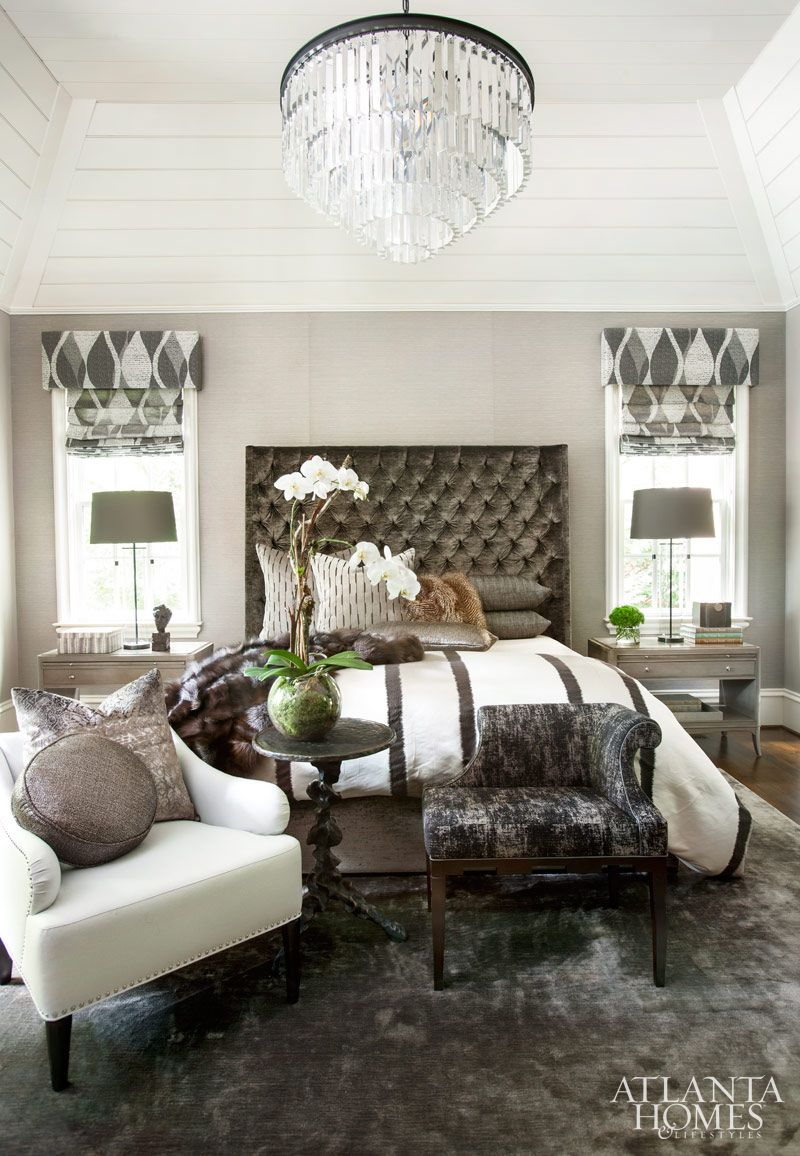Restoration hardware bedroom - Interior Designer Michel Boyd Softened This Texture Driven Master Bedroom S Soaring Ceiling With A Jewel Like Restoration Hardware Chandelier And A