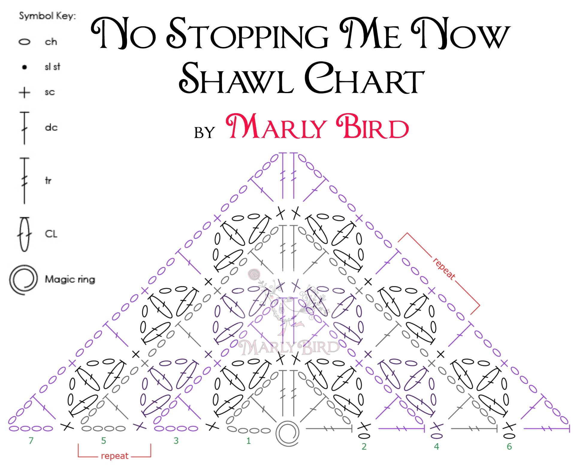No Stopping Me Now Shawl Crochet Chart | Crochet - Hats, scarves ...