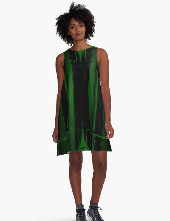 933a19151f65 Black A Line Dress, Geometric Print Dress, Green Dress, Striped Dress,  Sleeveless Dress, Party Dress