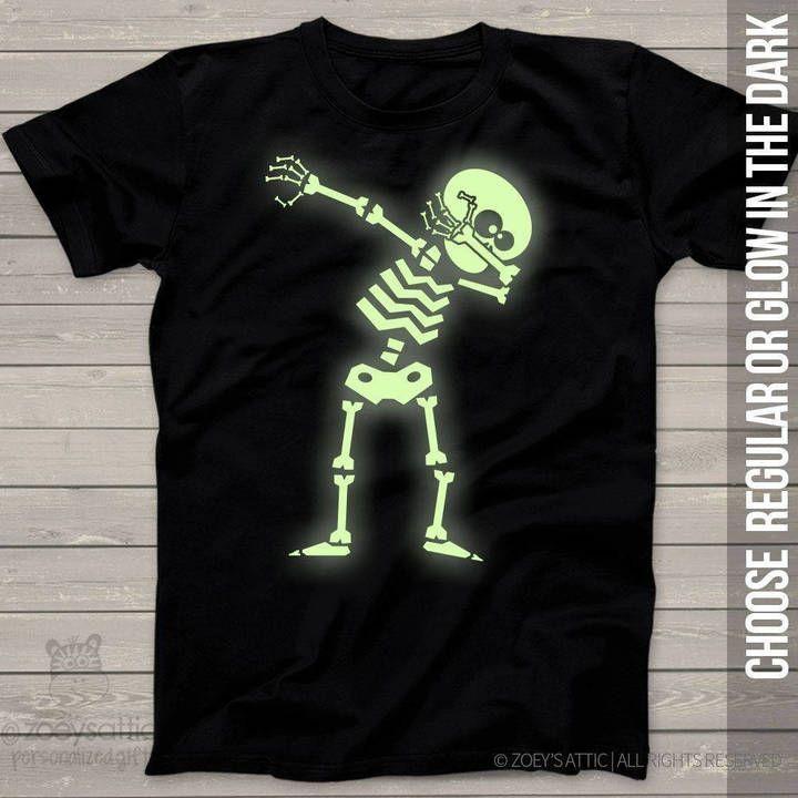 Skeleton Dab Halloween T-Shirt Glow Skull Scary Costume
