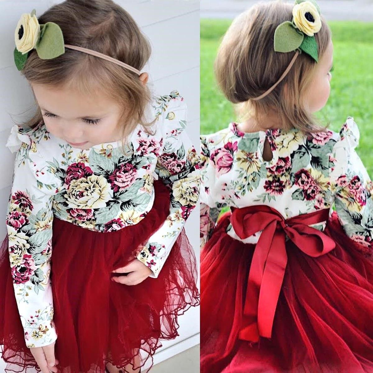 Flower Girls Princess Dress Kids Baby Party Wedding Pageant Long Sleeve Dresses