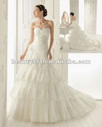 2012 new design elegant criss-cross sweetheart droped waistline tiered skirts lace wedding dress with rosettes ZQW416