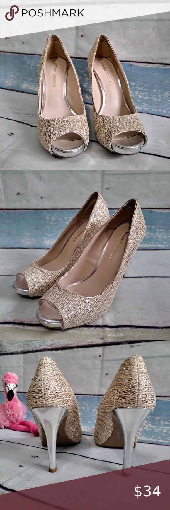Audrey Brooke Heels Sparkling Silver & Gold Audrey Brooke Sparkling Gold & Silve...