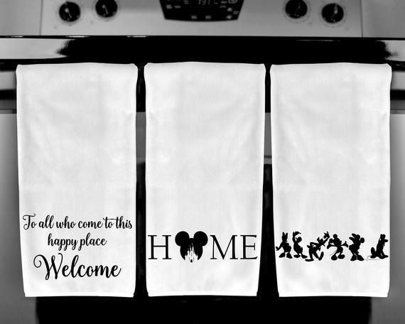 Disney Home / Happy Place / Disney Squad Goals / Disney Towel / Disney House Decor / Disney Kitchen Towel / Mickey Mouse / Disney Gifts #disneykitchen