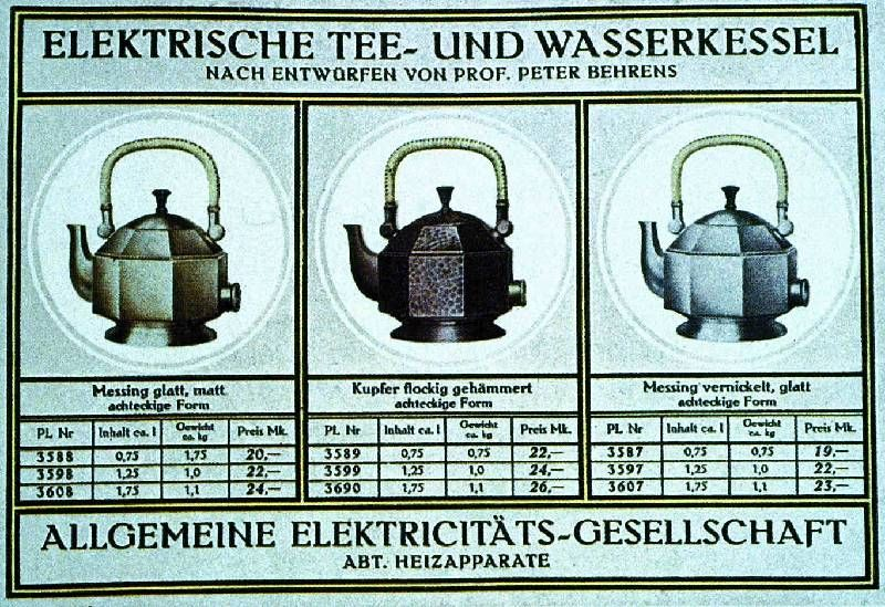 Peter Behrens, catalogue page for AEG teakettles, 1908. Permutations ...