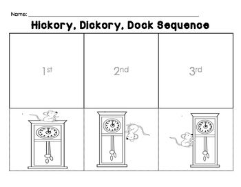 Hickory Dickory Dock Sequence Sheet Nursery Rhymes Activities