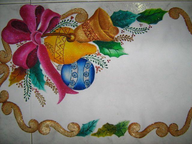 Pintura en tela carpetas cuadros manteles mu ecos de - Dibujos navidenos para pintar en tela ...