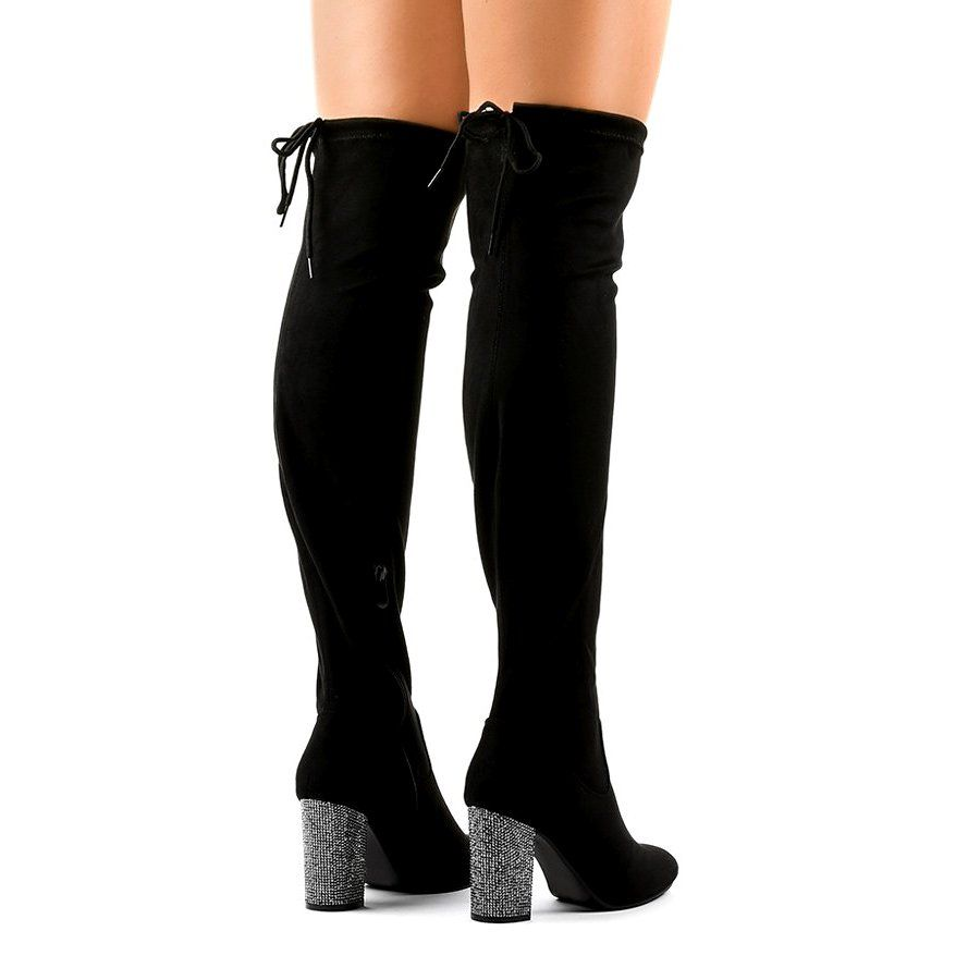 Czarne Zamszowe Kozaki Na Slupku 0 235 Black Boots Women Boots Black Suede Boots