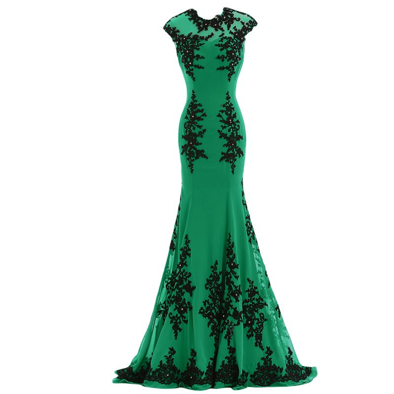 Black and emerald green dresses