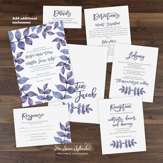 Printable Wedding Invitation Purple Watercolor Leaves Invitation - invitation downloads