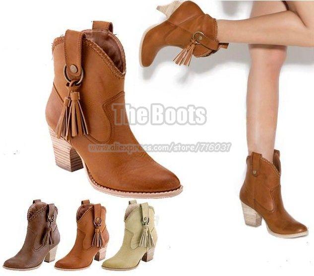 398115962 2013 nueva moda para mujer de color beige brown chunky tacón alto borla  occidental vaquera botas de tobillo barato a la venta al por mayor envío  gratis