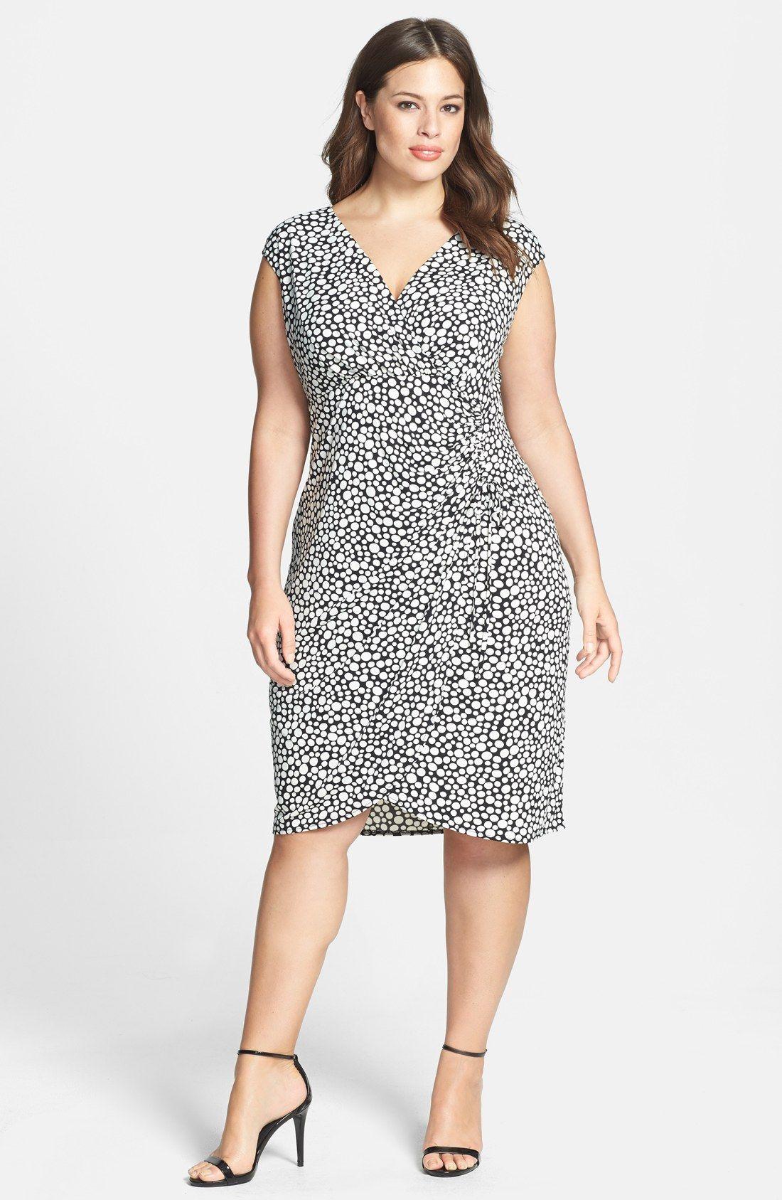 London Times Print Side Ruched Matte Jersey Sheath Dress (Plus Size ...