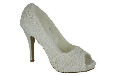 f509c2a6c78ea Satin Ivory Lace Platform Heels Wedding Bridal Shoes: Amazon.co.uk ...