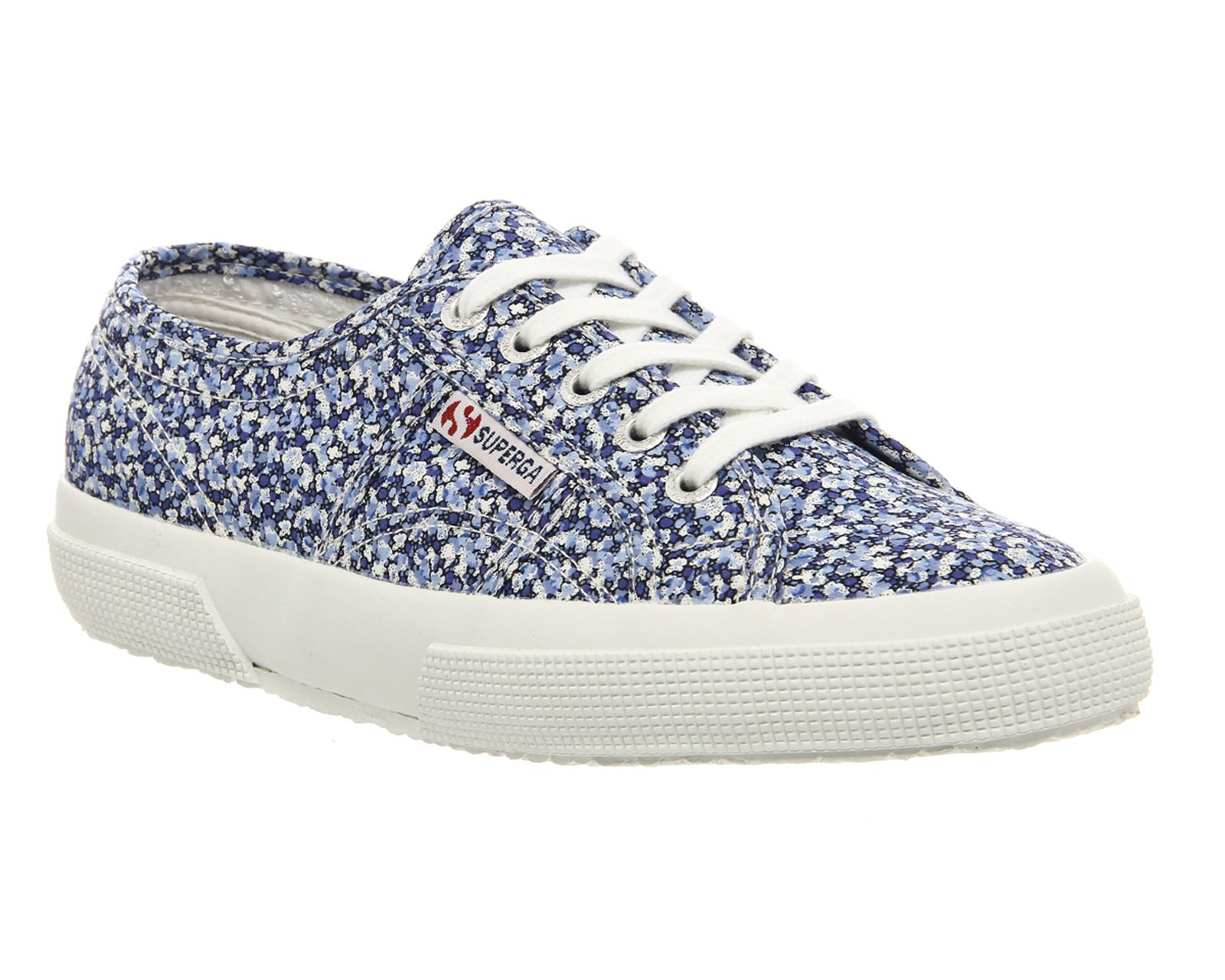 Superga Womens White Blue White Blue 2750 Floral Liberty Trainers Sole Rubber