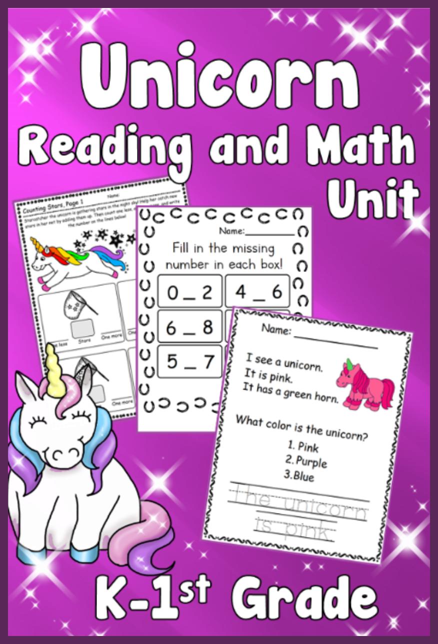 Unicorn Kindergarten 1st Grade Math Reading And Writing Unit Writing Units 1st Grade Math Kindergarten Lessons [ 1288 x 876 Pixel ]