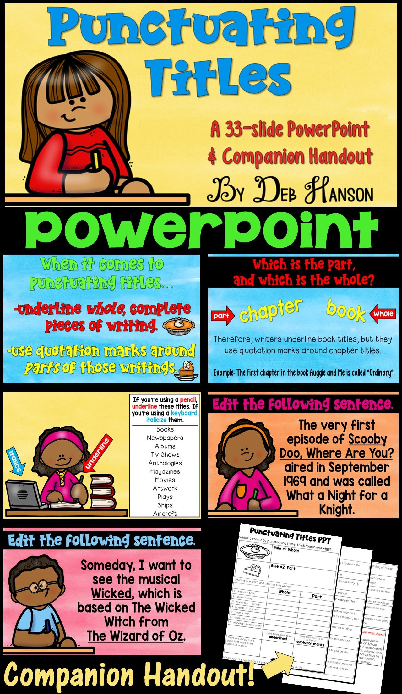 Punctuating Titles Powerpoint This Powerpoint Teaches Students When To Underline When To Italici Underline Book Titles Common Core Curriculum Quotation Marks