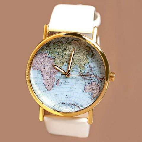 Map patterned watch with round dial and leather watch band for women map patterned watch with round dial and leather watch band for women gumiabroncs Gallery