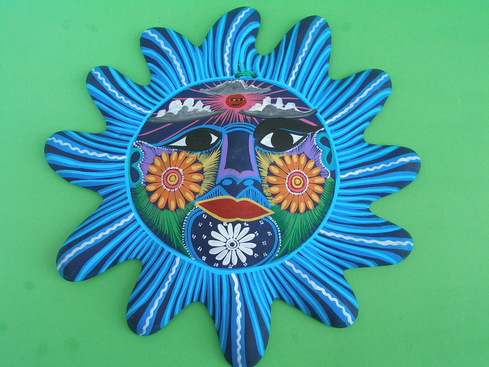 Mexican Arts And Crafts Hand Painted Clay Sun Wall