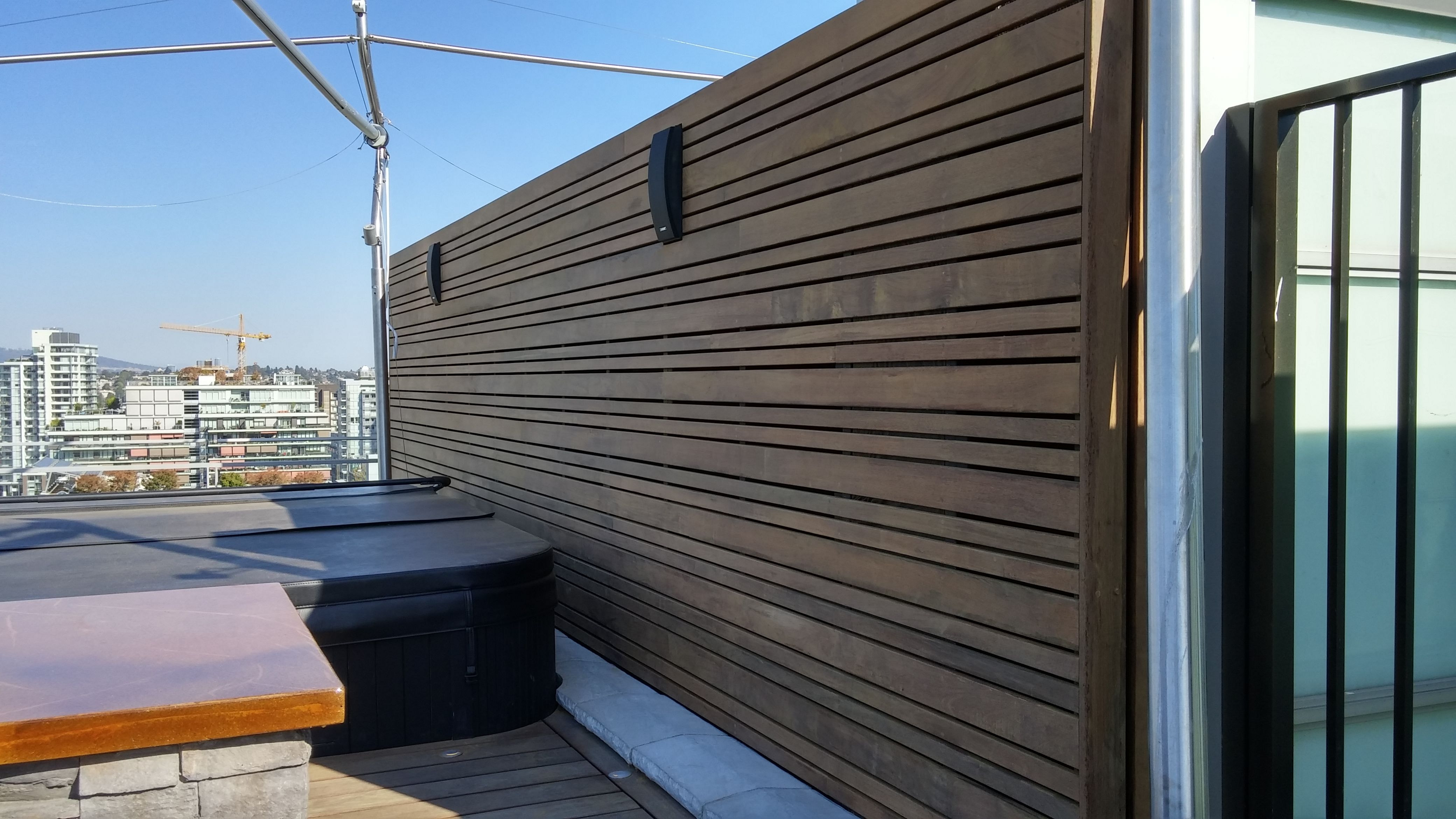 Ipe Hardwood Privacy Screen From A Penthouse Rooftop Garden Project