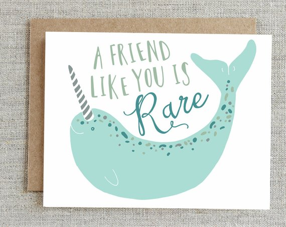 Friendship Card Best Friend Card Card For Friend Narwhal Card