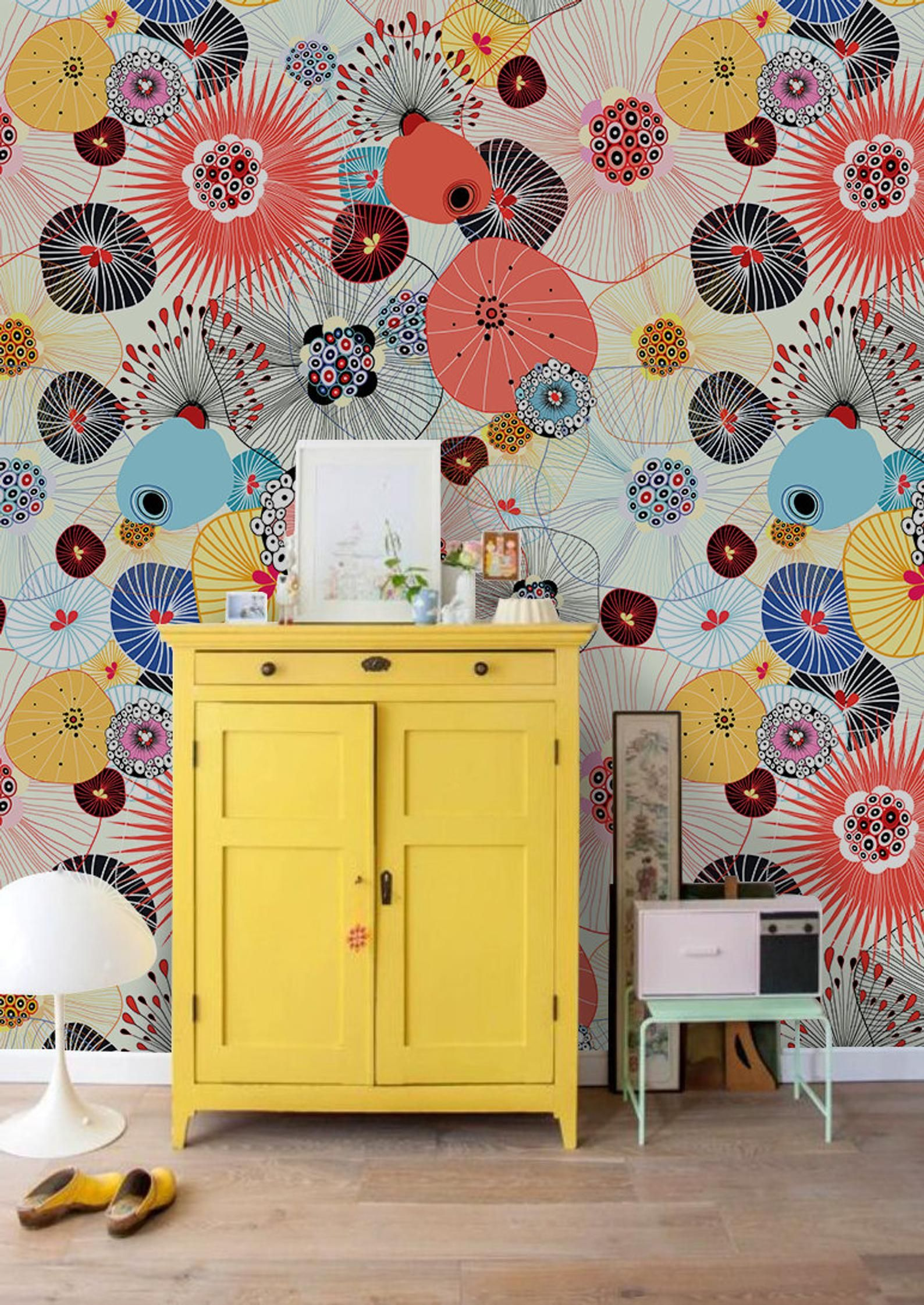 Abstract Texture Removable Wallpaper Red Yellow And Blue Wall Etsy In 2020 Removable Wallpaper Blue Walls Wall Murals
