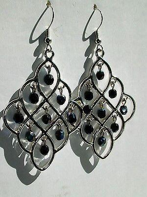 Silver-toned-and-black-Chandelier-earrings-handmade-nickel-free