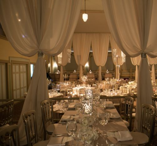 Indoor Wedding Reception Ideas: White Ballroom Wedding Reception