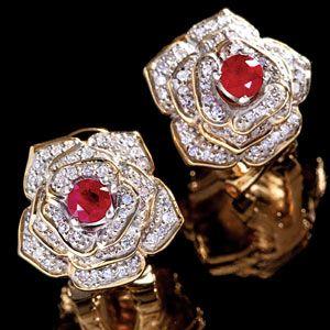 14k Gold Vermeil Tunisia Ruby Diamond Earrings Diamond Earrings Ruby Diamond Gold Vermeil